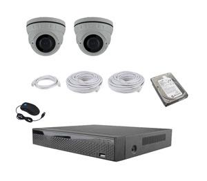Netværks IP videoovervågning sæt komplet, med 2 stk. kamera 2 megapixel, bemærk op til 9 kamera
